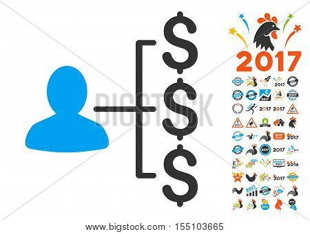 Payer Relations pictograph with bonus 2017 new year icon set. Vector illustration style is flat iconic symbols, modern colors.
