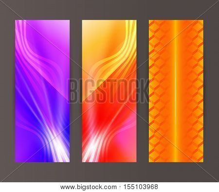Vertical Banner Set Design Element Background Glow Abstract Shape08
