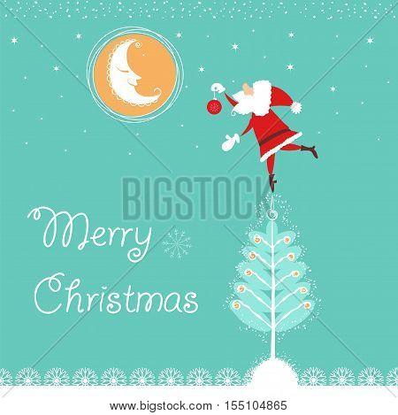Christmas Card With Santa And Nice Moon.vector Blue Card Illustration