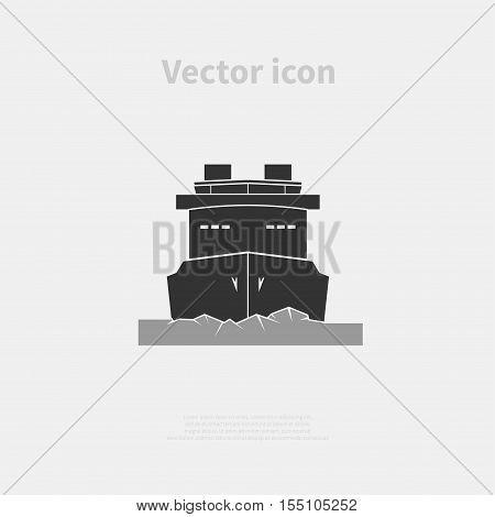 Icebreaker ship icon isolated on background. Vector illustration