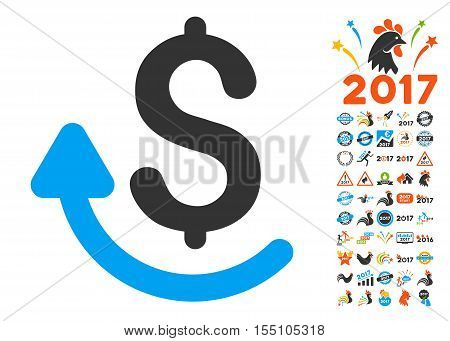Repay pictograph with bonus 2017 new year pictograph collection. Vector illustration style is flat iconic symbols, modern colors.
