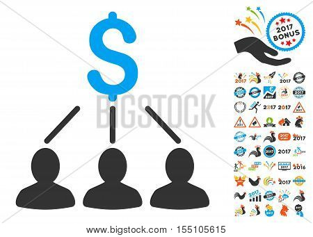 Shareholders pictograph with bonus 2017 new year pictograph collection. Vector illustration style is flat iconic symbols, modern colors.