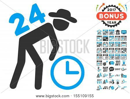 Around the Clock Work icon with bonus 2017 new year images. Vector illustration style is flat iconic symbols, modern colors.