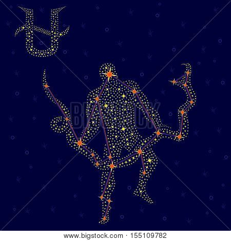 Alternative Zodiac Sign Ophiuchus Over Starry Sky