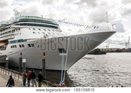 Cruise Ship boat at Hamburg Harbor in germany