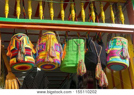 Souvenirs from the La Guajira region in Colombia known as mochilas