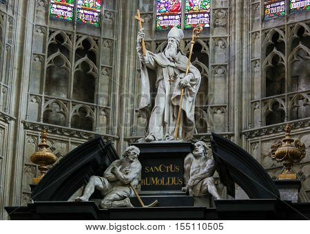 Saint Rumbold - Statue In Mechelen Cathedral