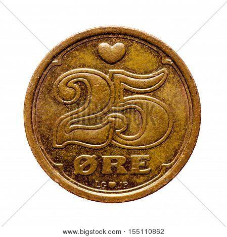 Metal Coin  Twenty-five Era Denmark Isolated On White Background .reverse Coin