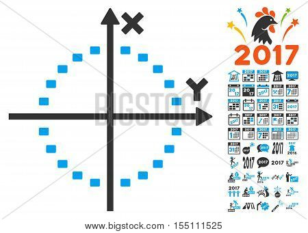 Dotted Circle Plot icon with bonus 2017 new year pictograph collection. Vector illustration style is flat iconic symbols, modern colors.