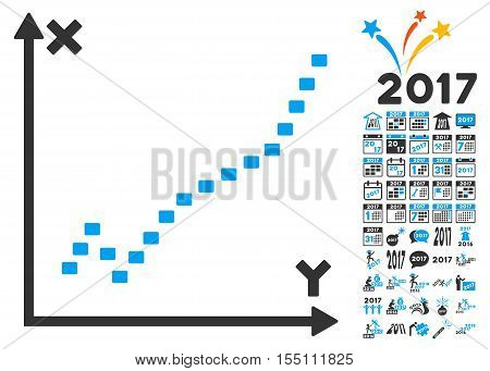 Dotted Function Plot pictograph with bonus 2017 new year pictures. Vector illustration style is flat iconic symbols, modern colors.