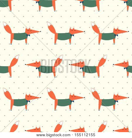 Cute fox seamless pattern on polka dots background. Cartoon foxy vector illustration. Child drawing style animal background. Fashion design for fabric, textile.