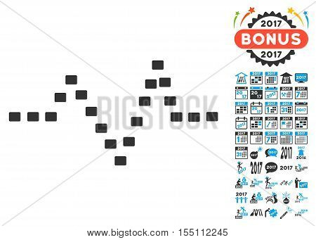 Dotted Pulse pictograph with bonus 2017 new year graphic icons. Vector illustration style is flat iconic symbols, modern colors.