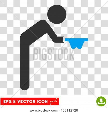 Child Beggar EPS vector icon. Illustration style is flat iconic bicolor blue and gray symbol.
