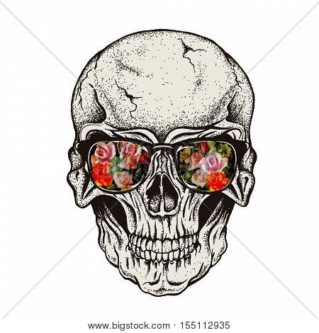 Skull of human with flowers in eyeglasses