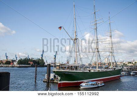 Port Hamburg in Germany big sailing boat in Harbor