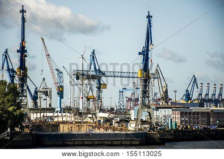 Port Hamburg in Germany biggest industrial Harbor 4