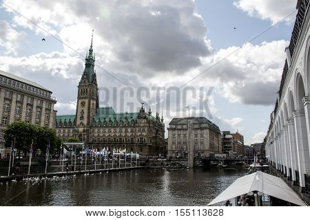 Hamburg City Germany the Town Hall old historic Building 2