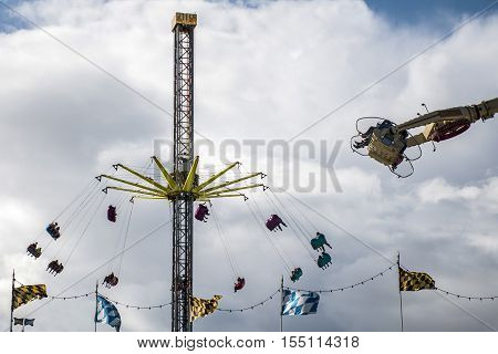 Hamburg City Germany The Dom fun park carousel roundabout 2