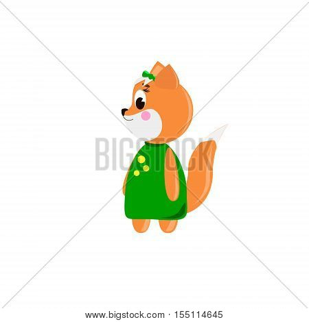 Сute cartoon Fox on a white background can be used for wallpaper design card invitation.