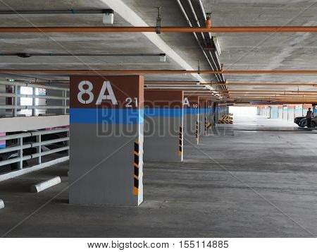 Empty car parking garage in the building