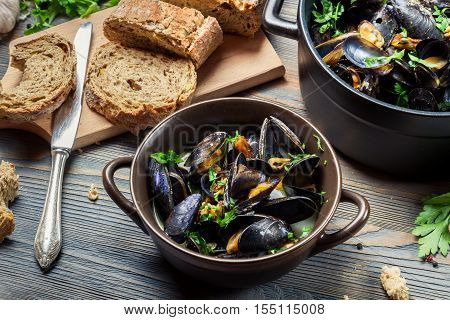 Closeup Of Ingredients To Prepare Mussels With Garlic