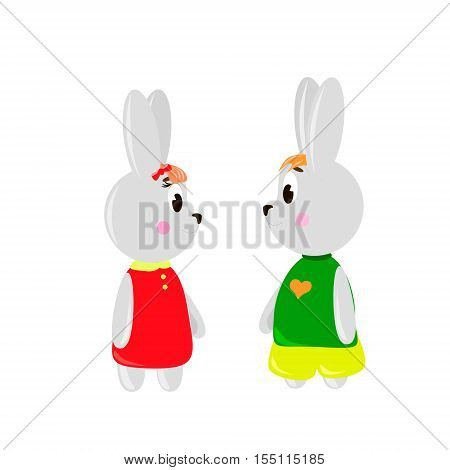 Two cute cartoon Rubbits on a white background can be used for wallpaper design card invitation.