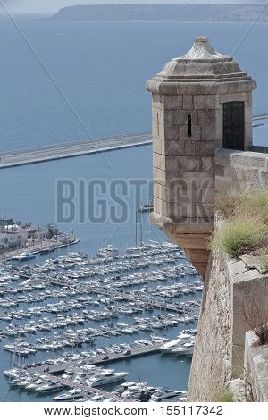 sentry box in santa barbara castle with the harbour in the background