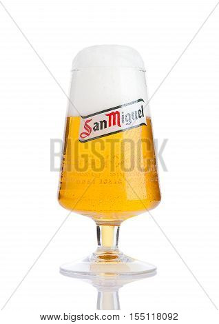 LONDON UK- NOVEMBER 2016: Cold glass of San Miguel beer. The San Miguel brand of beer is the leading brand of the San Miguel Brewery Inc the largest beer producer in the Philippines.
