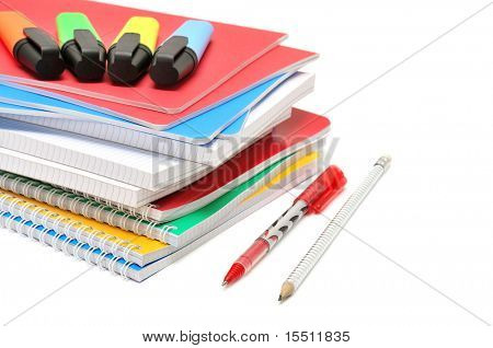 Notebook and felt-tip pen isolated on a white background