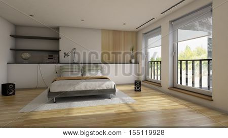 3d render of the modern bedroom interior
