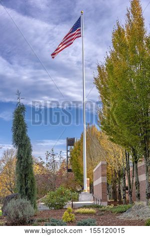 Old Glory waving in the in the Willamette national cemetery Oregon.