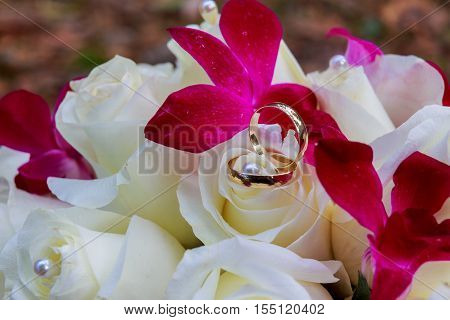 Bridesmaid Or Bride Holding Bouquet Of Pale White And Pinkish Roses Wedding