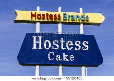 Indianapolis - Circa November 2016: Legendary Hostess Brands Sign at a Company Bakery. Hostess is famous for Twinkies and other snack cakes I
