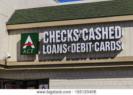 Indianapolis - Circa November 2016: ACE Cash Express Consumer Location. ACE Cash Express is a payday loan company I