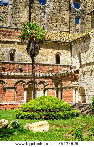 Ruins of an old abbey in Tuscany