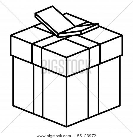Isometric gift box with bowtie icon. Present holiday celebration and decoration theme. Isolated design. Vector illustration