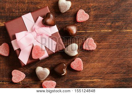 Chocolate candy hearts. Gift for a holiday. Date on Valentines Day