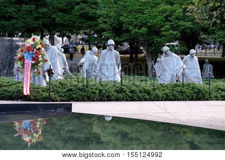 WASHINGTON D.C.,USA - AUGUST 14,2016 : The Korean War Veterans Memorial in Washington D.C.