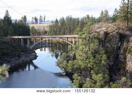 Post Falls Idaho with a view of the bridge