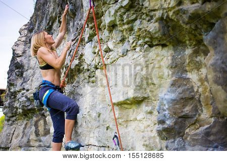 Sport Climbing Outdoors.