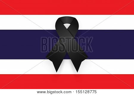 Black ribbon on Thailand flag . mourn for king of thailand pass away . rest in peace .