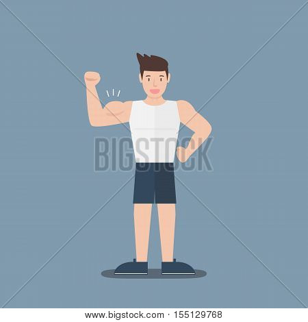 gym fitness muscular cartoon man show biceps flat design on blue background