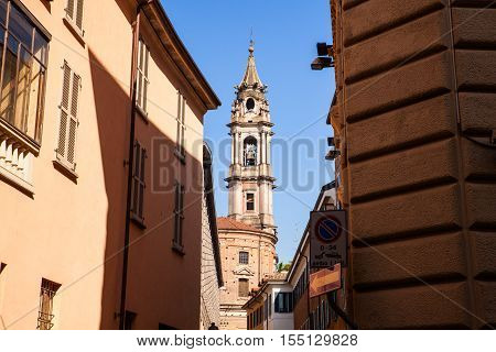 View of the belltower of the San Gaudenzio Basilica in Novara Italy.
