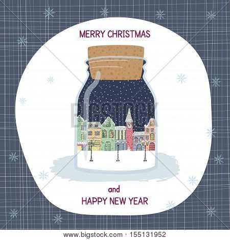 Merry Christmas and New year greeting card. Hand drawn city in bottle. Winter landscape. Christmas and new year souvenir