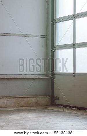 Empty stockroom warehouse interior detail as industrial background
