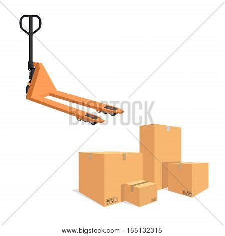 Pallet Jack And Cardboard Boxes
