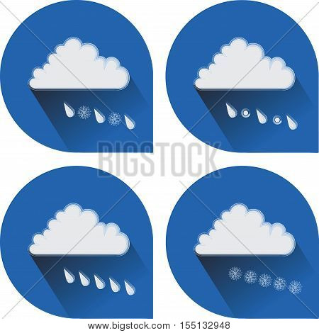Snow, rain, hail, sleet and snow. 4 weather icons. Flat icons to indicate the weather