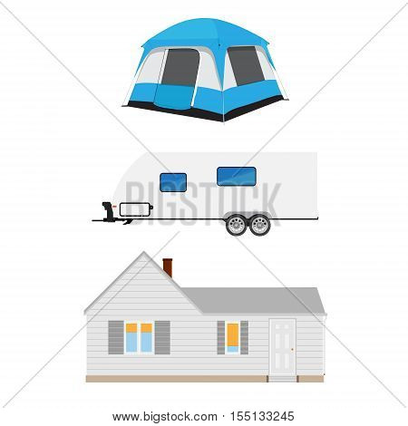 Trailer, Tent And Cottage