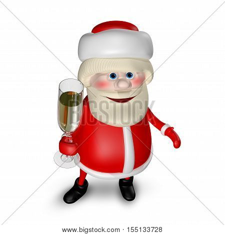 3D Illustration of Santa Claus with a Glass of Champagne