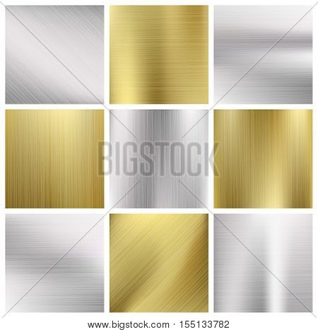 Metal vector textures set. Silver and gold metallic pattern illustration